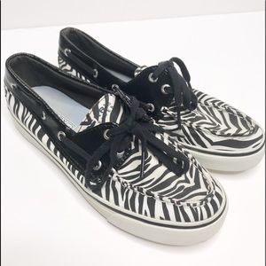SPERRY TOP SIDER ZEBRA PRINT LOAFER BLACK PATENT